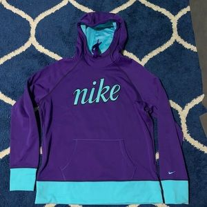 Nike women Therma Fit purple turquoise Xl hoodie